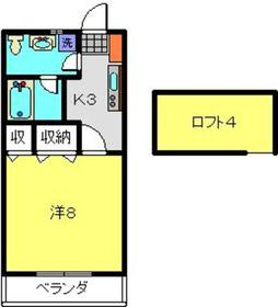 コーポタカエⅡ1階Fの間取り画像