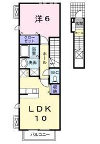 カーサドマーニI2階Fの間取り画像