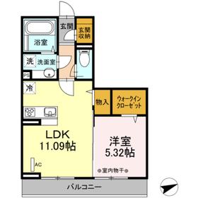 仮)セジュールオッツ愛甲新築工事2階Fの間取り画像