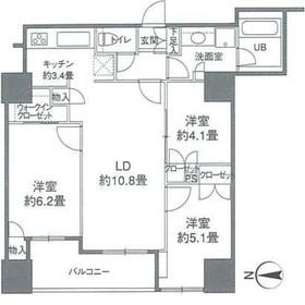 カスタリアタワー品川シーサイド2階Fの間取り画像