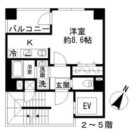 Azur勝どき4丁目4階Fの間取り画像