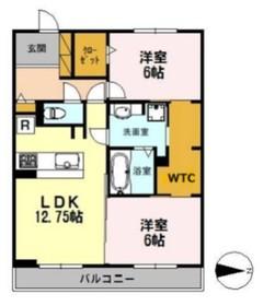 北野翠亭Ⅱ2階Fの間取り画像