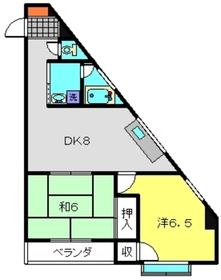田辺マンション3階Fの間取り画像