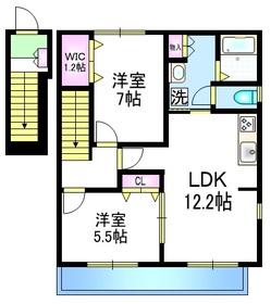 Court Villa 上ノ原Ⅲ2階Fの間取り画像
