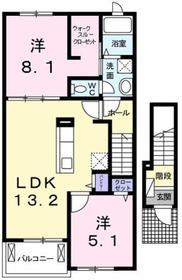昭島駅 バス8分「松中」徒歩12分2階Fの間取り画像