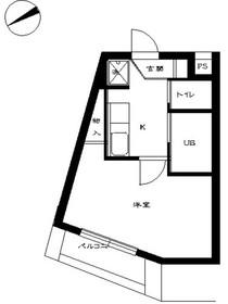 スカイコート恵比寿7階Fの間取り画像