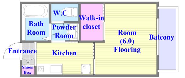 フルールタツミウエスト バストイレがセパレート、独立洗面所のある使い易い間取りです。