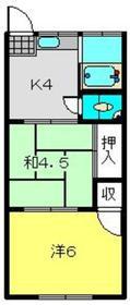 丸喜荘1階Fの間取り画像