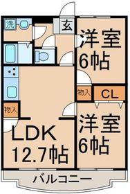 立川駅 バス18分「上水営業所」徒歩5分2階Fの間取り画像