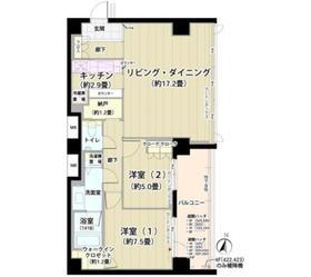 ガーデニエール砧レジデンス5階Fの間取り画像