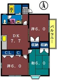 リバティーシーク2階Fの間取り画像