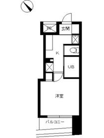 スカイコート品川仙台坂10階Fの間取り画像