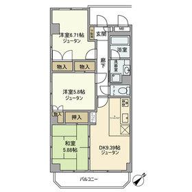 武蔵中原駅 徒歩33分3階Fの間取り画像