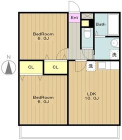 ピアチェボーレ3階Fの間取り画像