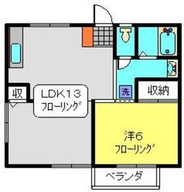 和光ハイツ1階Fの間取り画像