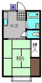 カワサキハイツ1階Fの間取り画像