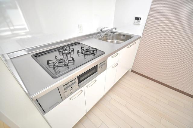 ラ・フォーレ久宝園 システムキッチンは広々と使えて、お料理が楽しくなります。