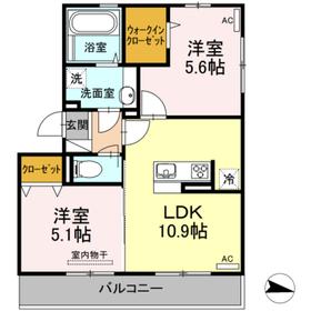 D・プレヴェイルII2階Fの間取り画像
