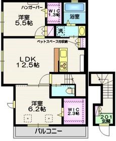 (仮称)吉川市平沼メゾン ペット共生2階Fの間取り画像