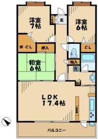 ライオンズマンション稲城6階Fの間取り画像
