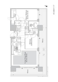 六本木グランドタワーレジデンス18階Fの間取り画像