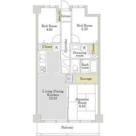 アーバンパーク常盤台公園B(アーバンパークトキワダイコウエン)2階Fの間取り画像