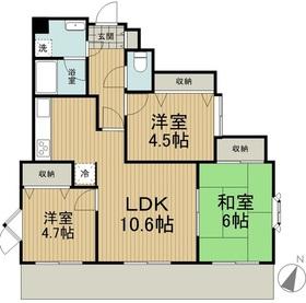 ライオンズマンション聖蹟桜ヶ丘第52階Fの間取り画像