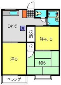 横浜駅 バス20分「釜台住宅第一亭」徒歩8分2階Fの間取り画像