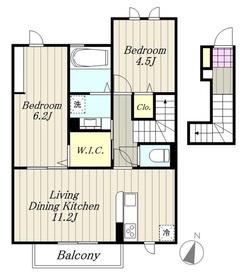maison楓Ⅲ2階Fの間取り画像