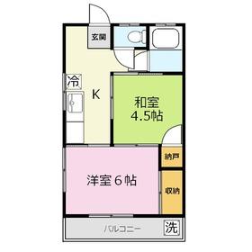 第二よこたハイツ2階Fの間取り画像