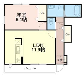 チェリーブロッサム1階Fの間取り画像