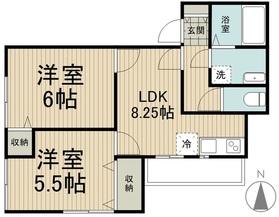 稲城長沼駅 徒歩3分2階Fの間取り画像