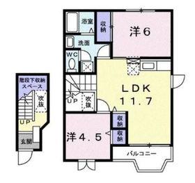 鶴ヶ峰駅 バス6分「筑池」徒歩6分2階Fの間取り画像