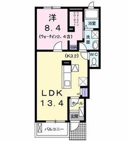 ソレイユⅡ1階Fの間取り画像