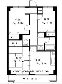 東戸塚駅 徒歩8分3階Fの間取り画像