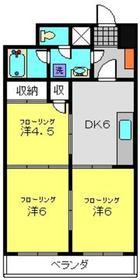月田マンション6階Fの間取り画像