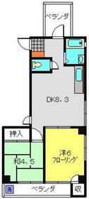 第3タルヤビル4階Fの間取り画像