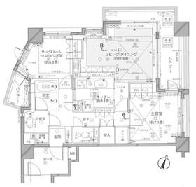 クレッセント麻布ビュータワー7階Fの間取り画像