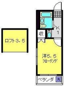 レオパレススエヒロ富岡2階Fの間取り画像