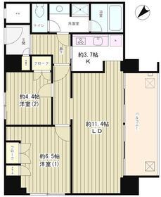 リバー&タワー12階Fの間取り画像