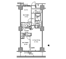 パークアクシス豊洲18階Fの間取り画像