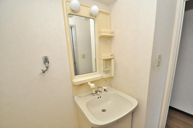 プラムガーデンハイツ 独立した洗面所には洗濯機置場もあり、脱衣場も広めです。