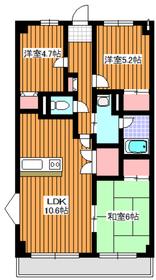 コリーヌアンソレイエ5階Fの間取り画像