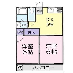 坂口ハイツ1階Fの間取り画像