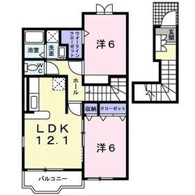 鶴川駅 バス11分「岩小山」徒歩3分2階Fの間取り画像