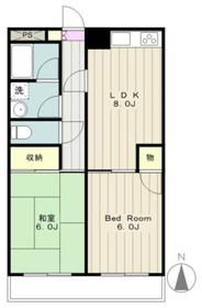 ラレス横山I2階Fの間取り画像