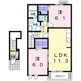 プレジールⅡ2階Fの間取り画像