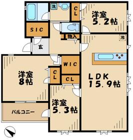栗平駅 徒歩19分3階Fの間取り画像