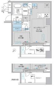イニシア築地レジデンス7階Fの間取り画像