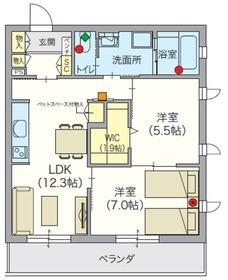 (シニア限定)アルモニーレジダンス氷川台2階Fの間取り画像